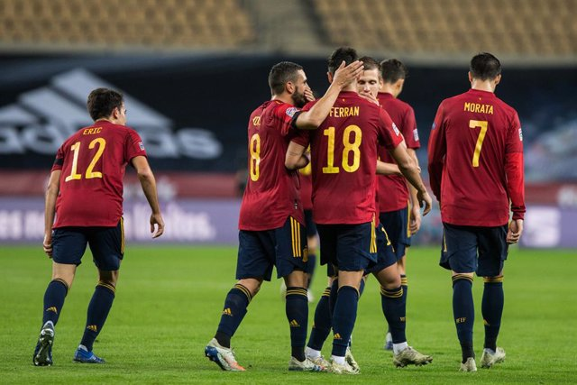 Celebrate score of Ferran Torres of Spain during the UEFA Nations league match between Spain and Germany at the la Cartuja Stadium on November 17, 2020 in Sevilla Spain