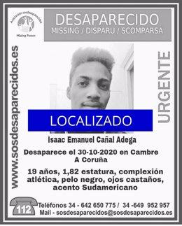 Localitzat el jove de 19 anys Isaac Emanuel Cañal Adega, desaparegut en Cambre (la Corunya) el passat 30 d'octubre.