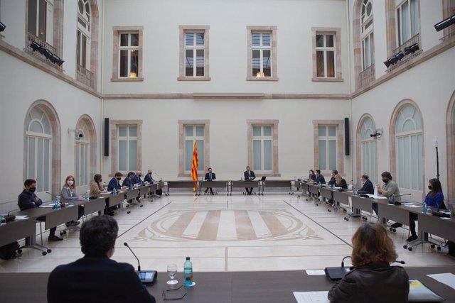 Vista del Parlament de Catalunya durant una reunió de la taula de partits catalans sobre les eleccions, a Barcelona, Catalunya (Espanya), a 4 de desembre de 2020.