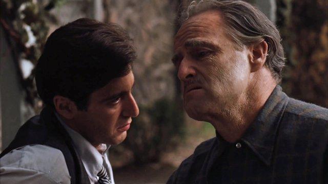 Al Pacino y Marlon Brando en El Padrino