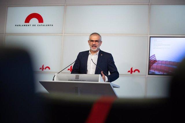 El líder de Cs a Catalunya, Carlos Carrizosa, intervé en una roda de premsa. Barcelona, Catalunya, (Espanya), 11 de novembre del 2020.