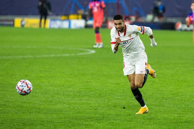 Youssef En-Nesyri of Sevilla during UEFA Champions League, football match played between Sevilla Futbol Club and Chelsea Football Club at Ramon Sanchez Pizjuan Stadium on December 2, 2020 in Sevilla, Spain.