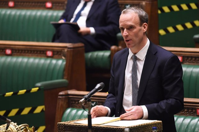 26 November 2020, England, London: UK Foreign Secretary Dominic Raab speaks during a British Parliament session at the House of Commons. Photo: Jessica Taylor/Uk Parliament via PA Media/dpa