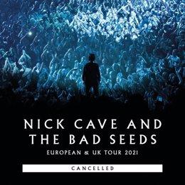Cartell de la gira de Nick Cave & The Bad Seeds cancel·lada.