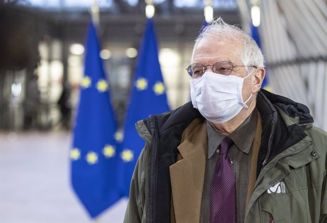 HANDOUT - 07 December 2020, Belgium, Brussels: European Union foreign policy chief Josep Borrell speaks to media as he arrives to attend the European Union Foreign Ministers meeting at the European Council building. Photo: Zucchi Enzo/European Council/dpa
