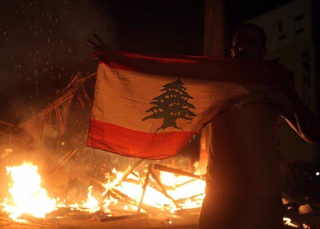 Imagen de archivo de protestas en Líbano.