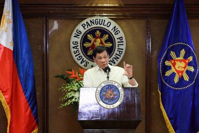 Rodrigo Duterte en una comparecencia en el palacio presidencial