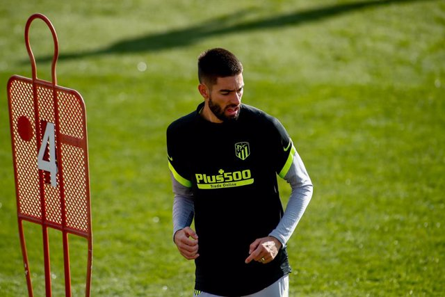 Yannick Carrasco looks on during the Atletico de Madrid training session for the UEFA Champions League football match to play against Lokomotiv of Moscow at Ciudad Deportiva Wanda Atletico de Madrid on November 24, 2020, in Majadahonda, Madrid, Spain.