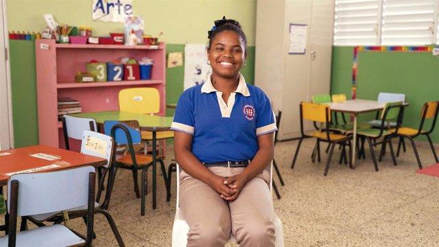 Mariela Claribel en un centro educativo en la República Dominicana.