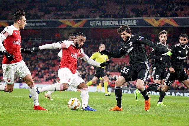Arsenal\'s Alexandre Lacazette (9) opens the scoring during the UEFA Europa League, Group E football match between Arsenal and FK Qarabag on December 13, 2018 at the Emirates Stadium in London, England - Photo Nigel Cole / ProSportsImages / DPPI