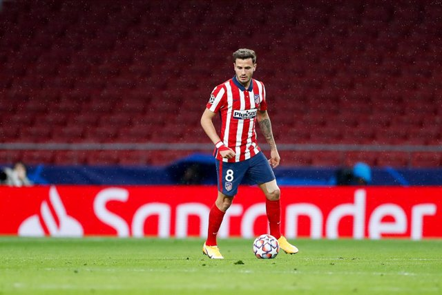 Saul Niguez of Atletico de Madrid in action during the UEFA Champions League football match played between Atletico de Madrid and Lokomotiv Moskva at Wanda Metropolitano stadium on november 25, 2020, in Madrid, Spain