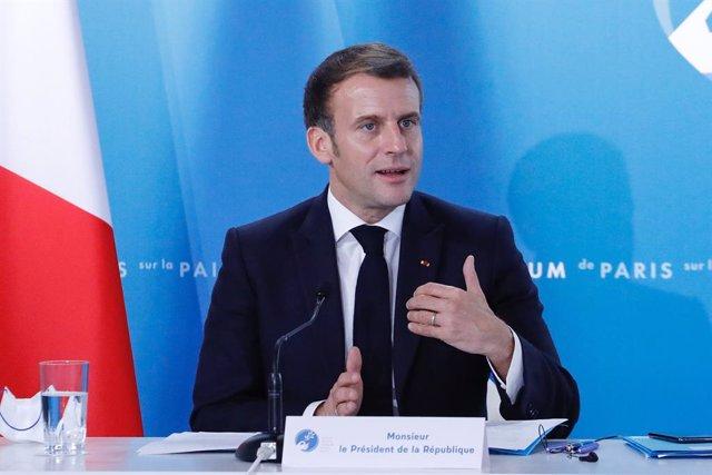 Emmanuel Macron en una comparecencia en París