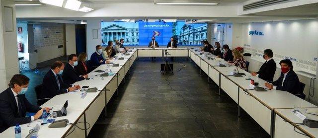 El presidente del PP, Pablo Casado, preside la reunión de los comités de dirección del Grupo Popular del Congreso y el Senado. En Madrid,  a 23 de noviembre de 2020.