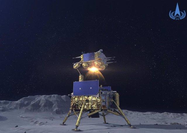 Ascendedor de la misión Chnag'5 despegando desde el módulo de aterrizaje tras la toma de muestras lunares