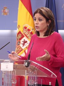 La portaveu del PSOE al Congrés, Adriana Llastra, durant el seu intevención en la roda de premsa celebrada amb motiu de la junta de portaveu al Congrés dels Diputats, a Madrid, (Espanya), a 29 de setembre de 2020.