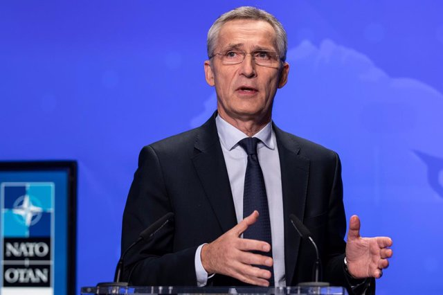 HANDOUT - 01 December 2020, Belgium, Brussels: NATO Secretary-General Jens Stoltenberg speaks during an online press conference following the first day of  the meetings of NATO Ministers of Foreign Affairs. Photo: -/NATO/dpa - ATTENTION: editorial use onl