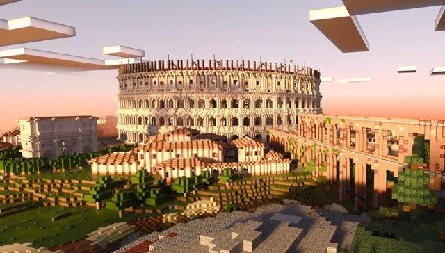 Minecraft Colosseum RTX con trazado de rayos.