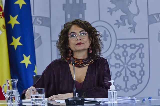La ministra portavoz y de Hacienda, María Jesús Montero, comparece en rueda de prensa tras el Consejo de Ministros