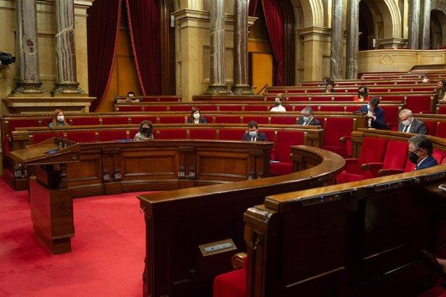 Vista de l'hemicicle del Parlament. Barcelona (Espanya), 18 de novembre del 2020.