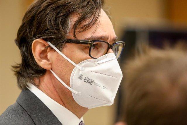 El ministro de Sanidad, Salvador Illa, durante la presentación de la campaña publicitaria del Ministerio de Sanidad para esta Navidad, en Madrid (España), a 7 de diciembre de 2020.