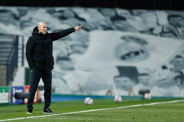 Zinedine Zidane, head coach of Real Madrid, gestures during the UEFA Champions League football match played between Real Madrid and Borussia Monchengladbach at Ciudad Deportiva Real Madrid on december 09, 2020, in Valdebebas, Madrid, Spain
