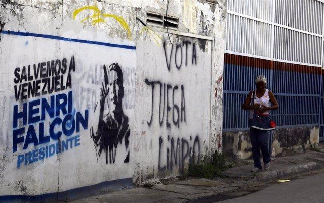 Mural en favor de la candidatura de Henri Falcón a la Presidencia de Venezuela durante las elecciones de 2018.