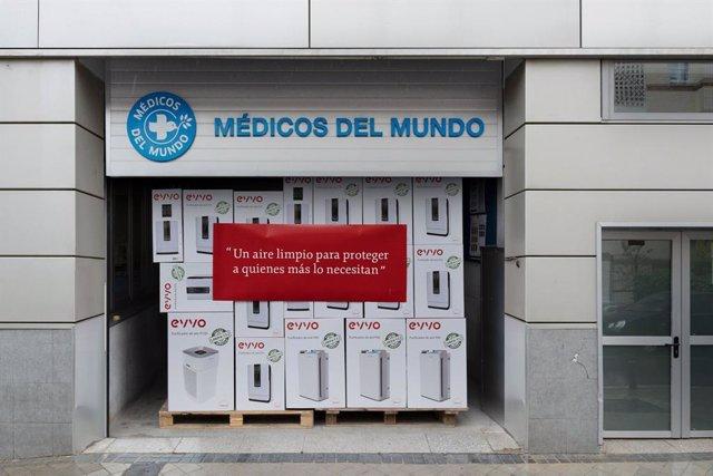 Palé de purificadores de aire de EVVO entregados