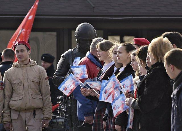 Imagen de archivo de los actos en Simferopol para conmemorar el aniversario de la anexión de Crimea por parte de Rusia