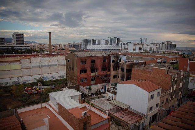 Estat de la nau ocupada al barri del Gorg després d'haver-se incendiat. Badalona, Catalunya (Espanya), 10 de desembre del 2020.
