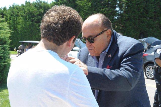 August 9, 2019 - Bridgehampton, New York, United States: Trump supporter Rudy Giuliani showed up with a bevy of youg women at the estate of Joe Farrell (Bridgehampton Builder) who hosted a fundraiser for Donald Trump in Bridgehampton. (John Roca / Contact