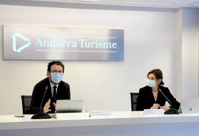 El director general d'Andorra Turisme, Betim Budzaku, i la ministra de Turisme, Verònica Canals.