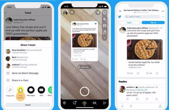 Integración de snapchat en twitter