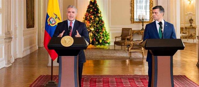 El presidente de Colombia, Iván Duque, junto al líder opositor venezolano Leopoldo López.