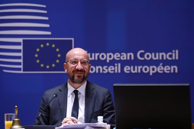 HANDOUT - 11 December 2020, Belgium, Brussels: EU Council President Charles Michel attends a round table meeting at the two days face-to-face European Council summit. Photo: Dario Pignatelli/EU Council/dpa - ATTENTION: editorial use only and only if the c
