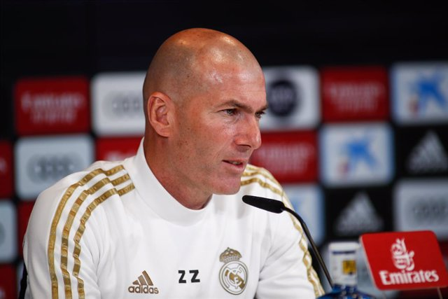 """Zinedine Zidane, head coach of Real Madrid, attends to the Media during the press conference of Real Madrid at Ciudad Deportiva Real Madrid before """"the classic"""" football match of spanish league, La Liga, on February 29, 2020 in Madrid, Spain."""