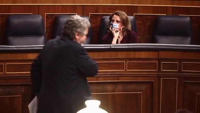 El portavoz de Transición Ecológica de Unidas Podemos en el Congreso, Juantxo López de Uralde (i), y la vicepresidenta cuarta y ministra para la Transición Ecológica, Teresa Ribera, durante una sesión plenaria en la Cámara Baja, en Madrid (España), a 2 de