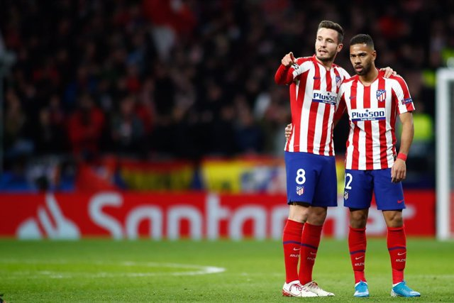 Saul Niguez of Atletico Madrid and Renan Lodi of Atletico Madrid during the UEFA Champions League football match played between Atletico de Madrid and Lokomotiv Moscow at Wanda Metropolitano Stadium on December 11, 2019, in Valdebebas, Spain.