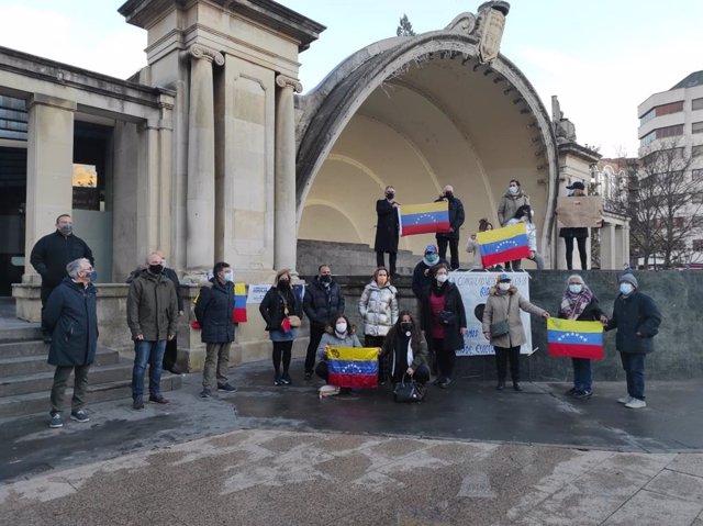 Cuca Gamarra en un acto de la comunidad venezolana en La Rioja