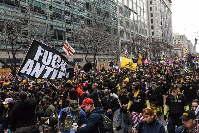 Simpatizantes de Donald Trump durante una manifestación en Washington, Estados Unidos
