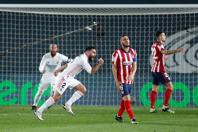 Daniel Carvajal of Real Madrid celebrates a goal during the spanish league, La Liga Santander, football match played between Real Madrid and Atletico de Madrid at Ciudad Deportiva Real Madrid on december 12, 2020, in Valdebebas, Madrid, Spain
