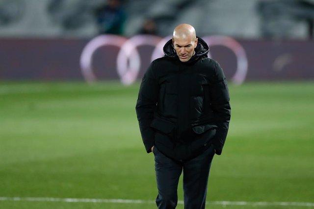 Zinedine Zidane, head coach of Real Madrid, looks on during the spanish league, La Liga Santander, football match played between Real Madrid and Atletico de Madrid at Ciudad Deportiva Real Madrid on december 12, 2020, in Valdebebas, Madrid, Spain
