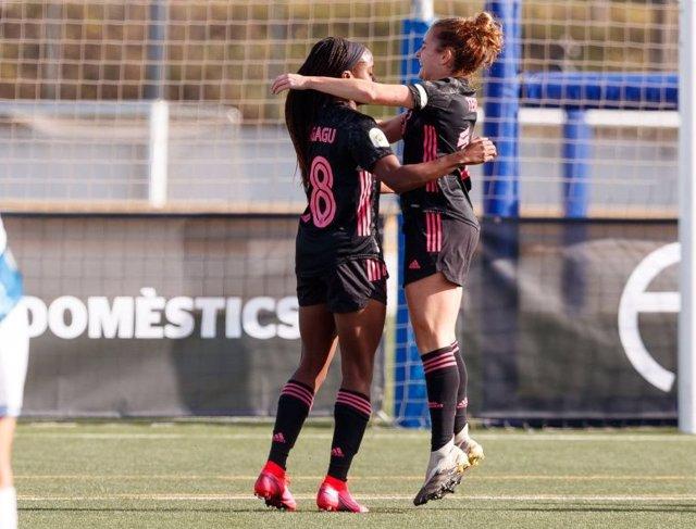 Ubogagu celebra su gol con el Real Madrid ante el Espanyol en la Primera Iberdrola 2020-2021