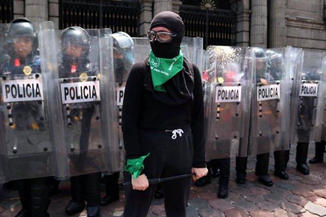 Manifestación a favor del aborto celebrada a finales de septiembre de 2020 en Ciudad de México