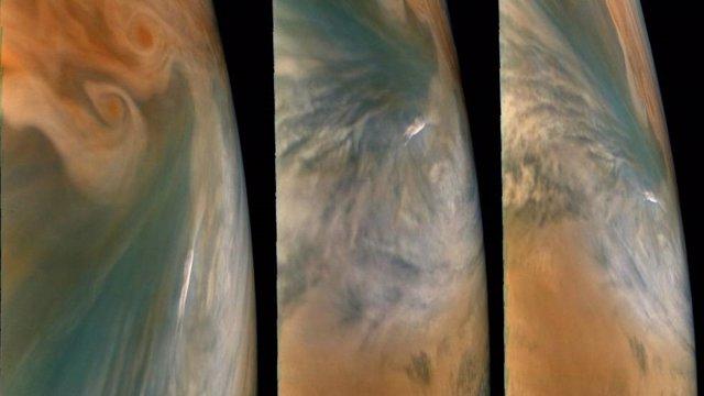 """Estas imágenes de la misión Juno de la NASA muestran tres vistas de un """"punto caliente"""" de Júpiter."""