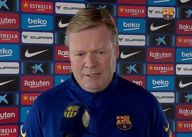El entrenador del FC Barcelona, Ronald Koeman, atiende a Barça TV para valorar el sorteo de los octavos de final de la 'Champions' 2020/21