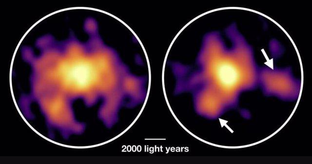 Esta imagen muestra un ejemplo de galaxias con explosión estelar que forman alrededor de mil estrellas por año en el momento de la observación. Esta fase es muy probablemente la fase de formación de galaxias masivas en el universo temprano, como C1-23152.