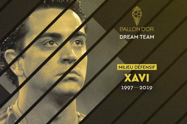 Xavi Hernández, en el Balón de Oro al mejor equipo de la historia
