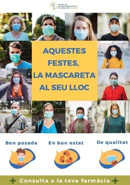 Cartell de la campanya 'La mascareta al seu lloc'.