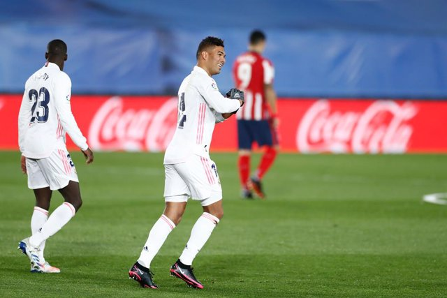 Carlos Henrique Casemiro of Real Madrid celebrates a goal during the spanish league, La Liga Santander, football match played between Real Madrid and Atletico de Madrid at Ciudad Deportiva Real Madrid on december 12, 2020, in Valdebebas, Madrid, Spain