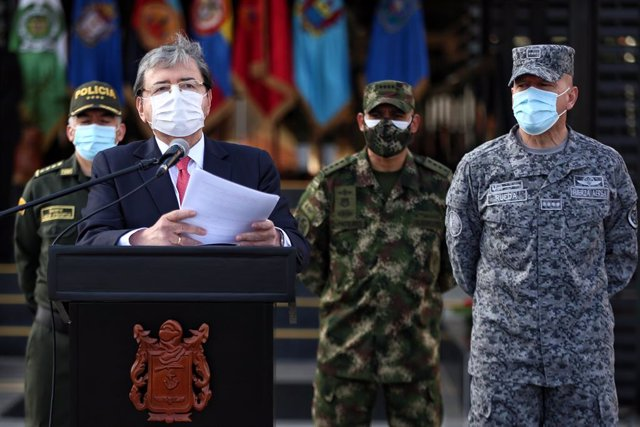 24 August 2020, Colombia, Bogota: Carlos Holmes Trujillo, Minister of Defence of Colombia, speaks during a press conference on the outbreak of violence in the country. Three young people have been killed in north-western Colombia, raising the death toll i